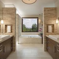 Contemporary Master Bathroom Porcelain Tile Floor