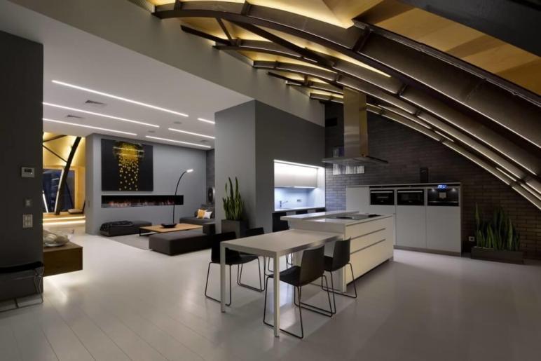 Contemporary Penthouse Kiev Exhibits Original Arch
