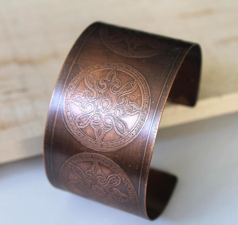 Copper Cuff Bracelet Etched Circle Pattern
