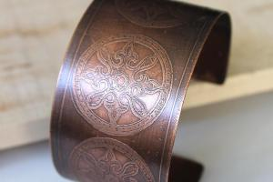 Copper Cuff Bracelet Etched Circle Pattern