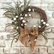 Cotton Boll Wreath Summer Door Front