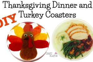 Craft Klatch Thanksgiving Dinner Turkey Coasters