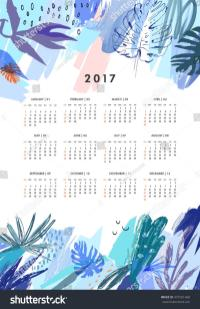 Creative Calendar 2017 Template Leaves Floral Stock Vector