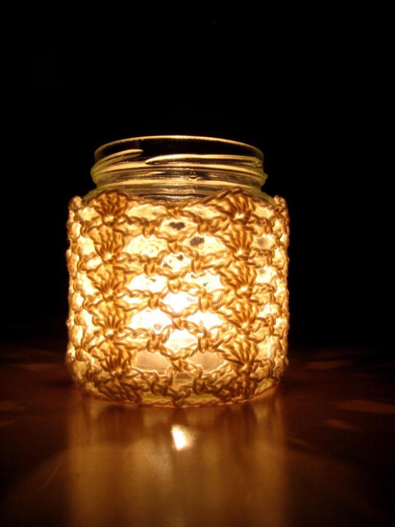 Crochet Jar Cover Shells Lace Make Day Creative