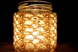 Crochet Jar Cover Shells Lace Make Day Creative