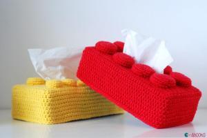 Crochet Lego Bricks Tissue Box Covers Tutorial