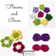 Crochet Pattern Flowers Bows Paradise
