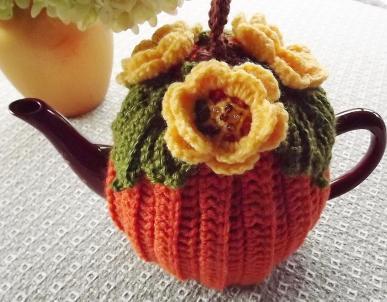Crochet Tea Cozy Pumpkin Orange Yellow Flower Cup