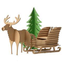 Cute Decoration Christmas Tree Reindeer Snow Sledge Toys