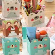 Cute Stationery Diy Storage Box Paper Board Desk Organizer