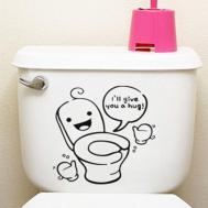 Cute Toilet Seat Cover Sticker Washroom Home Wall Decor