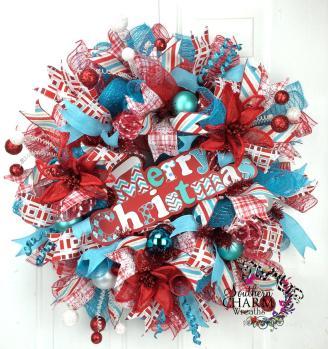 Deco Mesh Retro Christmas Wreath Blue Red Whimsical Door