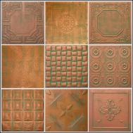 Decorative Texture Ceiling Tiles Glue Copper Patina