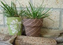 Decoupage Terracota Pots Glass Vase Fabric