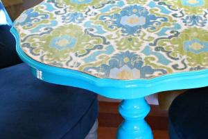 Decoupaged Fabric Table Makeover Make Side
