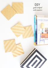 Design Evolving Diy Gold Striped Cork Coasters