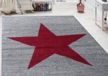 Designer Rug Star Pattern Modern Trendy Short Pile Mottled