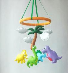 Dinosaur Baby Crib Mobile Nursery Decor Felt Hanging