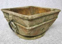 Distressed Greek Style Square Terra Cotta Pottery Pot