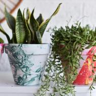Diy Bright Marbled Pots Using Nail Polish