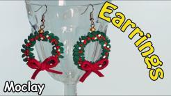 Diy Christmas Wreaths Earrings Polymer Clay Tutorial
