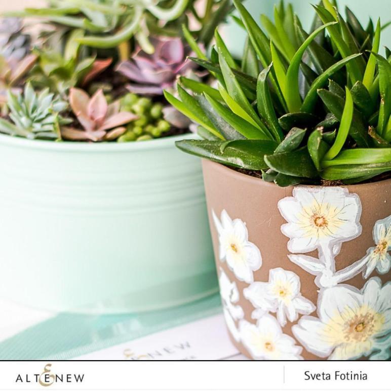 Diy Flower Pot Design Floral Drape Stencil Altenew Blog