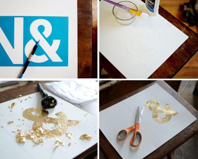 Diy Gold Leaf Monogram Art House Jade Interiors Blog
