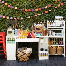 Diy Outdoor Wedding Reception Beverage Station Dinner Two