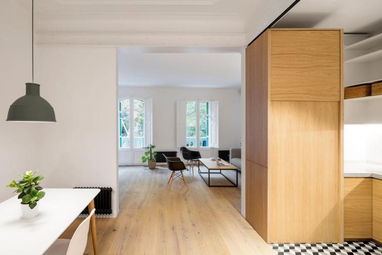 Drab Barcelona Apartment Reborn Illuminated Interior