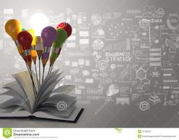 Drawing Idea Pencil Light Bulb Open Book Business