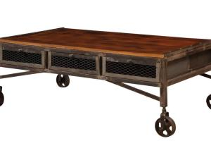 Edison Coffee Table Drawers Wheels Town Country