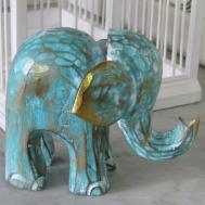 Elephant Wooden Hand Carved Wood Painted Fair Trade