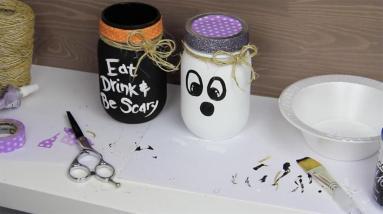 Endless Halloween Mason Jar Crafts Black White Paint