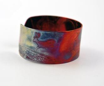 Etched Copper Cuff Bracelet Stag Deer Design Medium