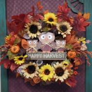 Fall Owl Deco Mash Wreath Ready Ship