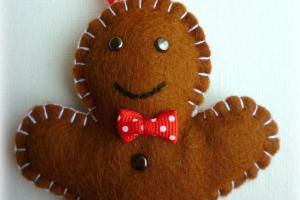 Felt Gingerbread Man Handmade Ornament