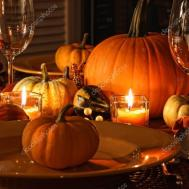 Festive Autumn Place Settings Pumpkins Stock