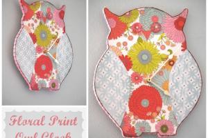 Floral Print Owl Clock Home Garden