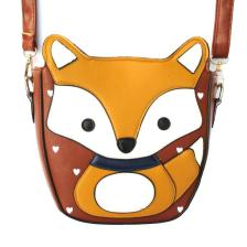 Fox Wolf Shaped Animal Themed Cross Body Shoulder Bag