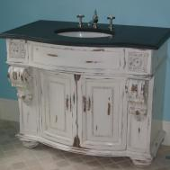 Furniture Black Glossy Shabby Bathroom Vanity