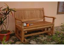 Furniture Minimalist Teak Garden Glider Bench Design Idea