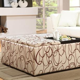 Furniture Tufted Coffee Table Oversized Ottoman