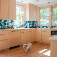 Geometric Fish Scale Tile Kitchen Backsplash Green