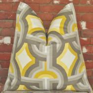 Geometric Pillow Gray Chartreuse Handmade
