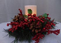 Gerson Led Candle Red Berry Pine Pinecone Ring