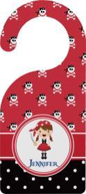 Girl Pirate Dots Door Hanger Personalized
