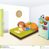 Girl Studying Her Clean Bedroom Stock Vector