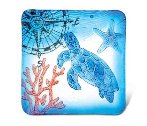 Glass Cor Inch Blue Square Plate Sea Turtle