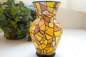 Glass Vase Embellished Decoupage Method Blanketed