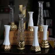 Gold Dipped Vintage Milk Glass Vases Geometric